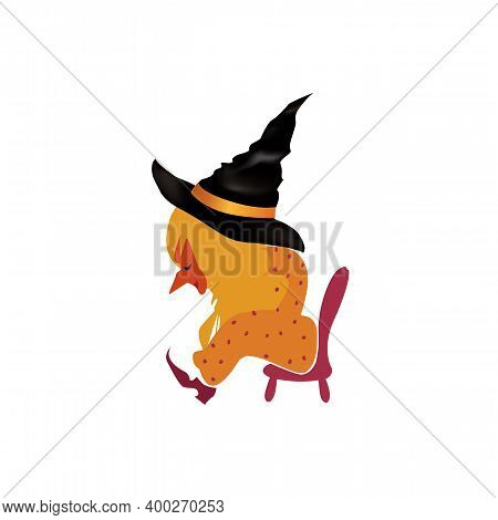 Liitle Witch Sitting On A Small Chair Tyed After A Good Holiday. Halloween Character Design Element