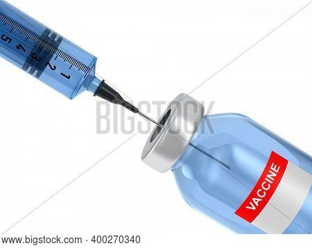 bottle vaccine and syringe on white background. Isolated 3D illustration