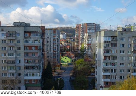 Eastern Europe Rustic City Street Landmark View Aerial Photography Foreshortening From Above With Co