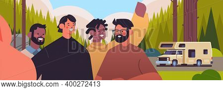 Mix Race Guys Taking Selfie On Smartphone Camera Happy Men Making Self Photo Near Camping Trailer Ca