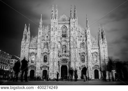 Milan Cathedral , Duomo Di Milano, Is The Gothic Cathedral Church Of Milan, Italy. Shot In The Dusk