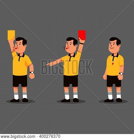 Male Soccer Referee Blowing Whistle And Showing Punishment Card.