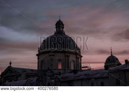 Ancient Gothic Cathedral Dome Europe Medieval Architecture Building Urban Landmark City View In Dram