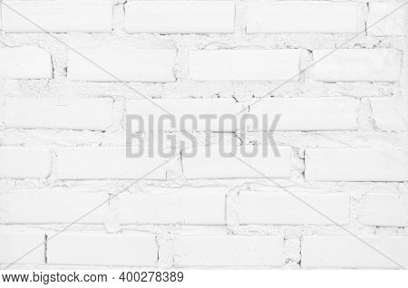 Modern White Vintage Brick Wall Texture For Background Retro White Washed, Old Brick Wall Surface Gr