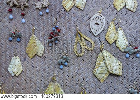 Various Shapes And Shades Of Wicker Made Earrings , Handicrafts On Display During The Handicraft Fai