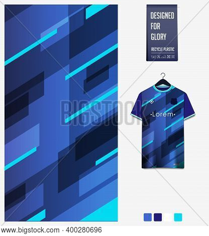 Fabric Pattern Design. Geometric Pattern On Gradient Background For Soccer Jersey, Football Kit, Bic