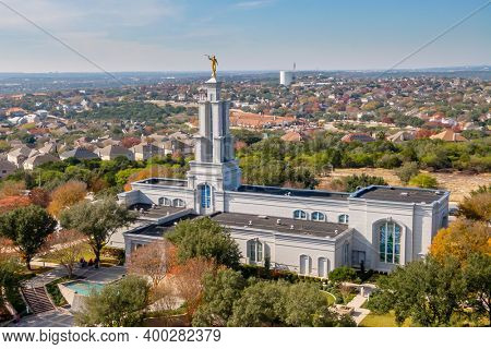December 12, 2020 - San Antonio, Texas, USA: The San Antonio Texas Temple is the 120th operating temple of The Church of Jesus Christ of Latter-day Saints (LDS Church).
