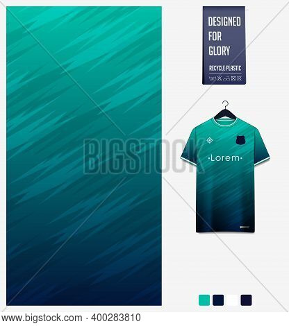 Fabric Pattern Design. Mosaic Pattern On Green Background For Soccer Jersey, Football Kit, Bicycle,