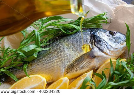 Dorada With Lemon And Herbs Tarragon And Dill, Olive Oil