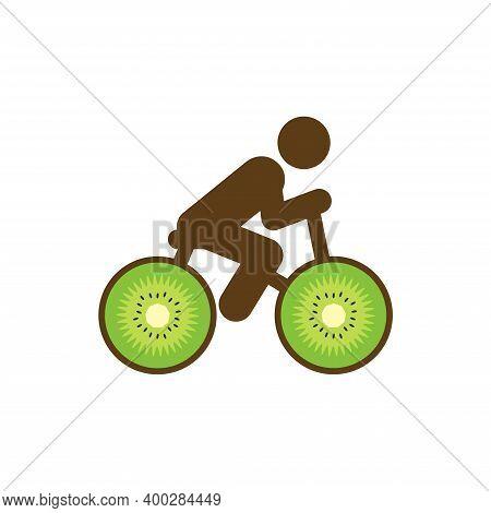 Bike With Wheels Made From Round Slices Of Kiwi. Bike Kiwi Nature Vector Illustration