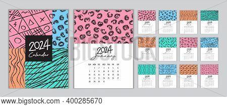 Calendar 2024 Template Vector, Set Desk Calendar 2024, Wall Calendar 2024 Design, Planner 2024 Year,