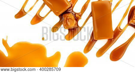 Sweet Caramel Candies And Syrup Topping Isolated On A White Background. Creative Layout Made Of Cara
