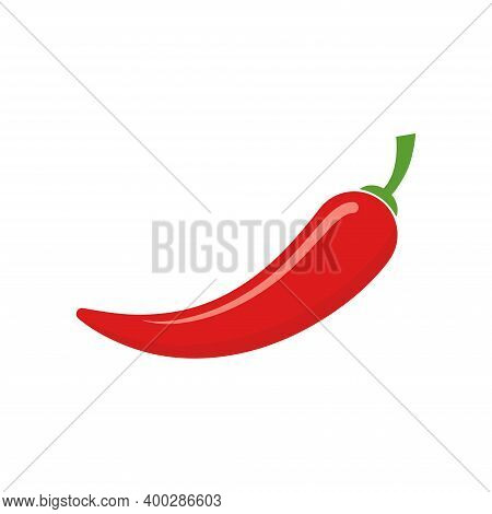 Hot Chili Pepper Vector Icon. Red Chili Logo Design.
