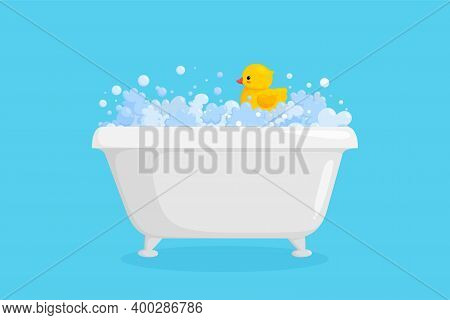 Bathtub With Rubber Duck In Suds. Yellow Duck In Bubbles And Foam Isolated In Blue Background. Vecto