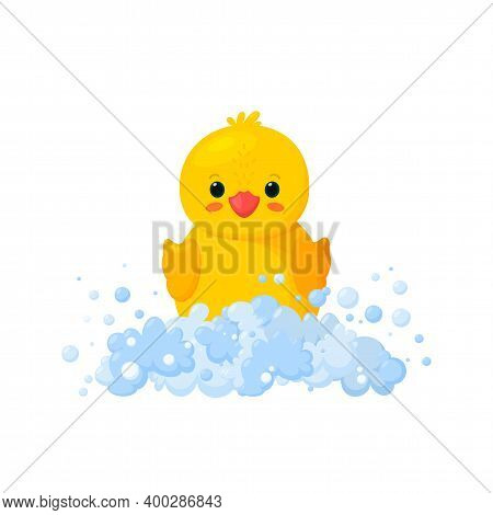 Rubber Duck In Soap Foam With Bubbles Isolated In White Background. Front View Of Yellow Plastic Duc