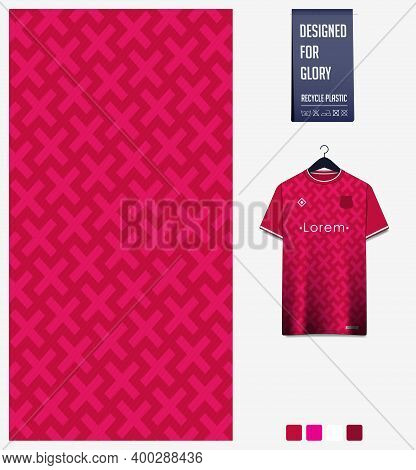 Fabric Pattern Design. Geometric Pattern On Pink Background For Soccer Jersey, Football Kit, Bicycle