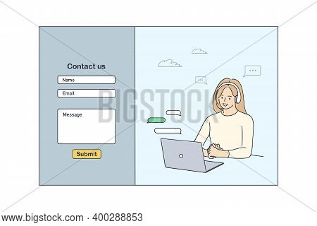Contact Us Template Form For Web Design Concept. Young Smiling Woman Customer Service Operator Commu