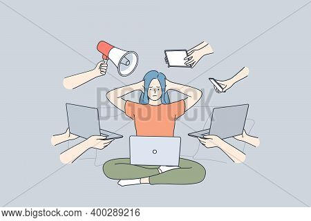 Multitasking, Stress, Business Efficiency Concept. Young Frustrated Stressed Woman Sitting With Lapt