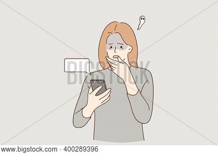 Frustration, Broken Phone, Problems In Communication Concept. Worried Concerned Girl Cartoon Charact