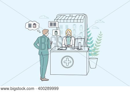 Online Drugstore And Pharmacy Concept. Man Cartoon Character Choosing Drugs In Online Pharmacy Shop