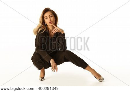 Blond Young Woman Ist On Floor Full Body Sensual Portrait