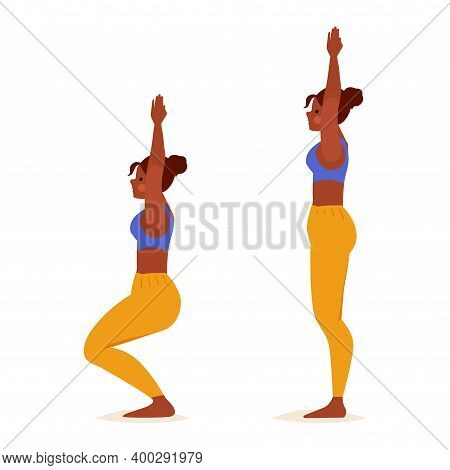 Young Woman Practicing Yoga. Standing Pose. Girl Fitness, Aerobic And Exercises. Vector Cartoon Illu