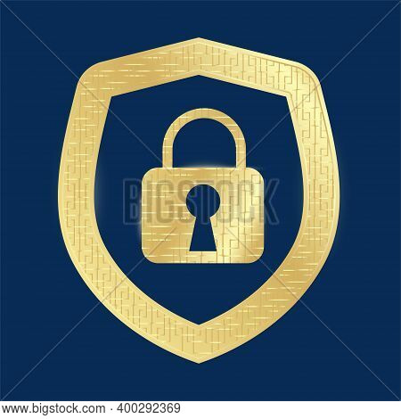 Gold Sign Shield Of The Security Castle. Vector Illustration. Image For Use In Your Web Projects Or