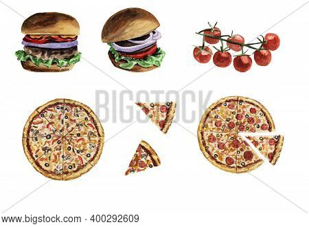 Watercolor Set Whole Pizza, Pizza Slices, Burgers, Cherry Tomatoes On A Branch Isolated On A White B