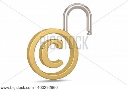 Copyright Trademark Concept With Padlock Isolated On White Background. 3D Illustration.