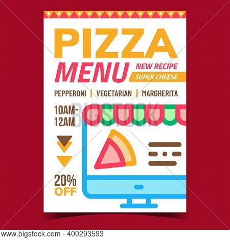 Pizza Menu Creative Promotional Banner Vector. Online Pizzeria Menu On Computer Display Advertising