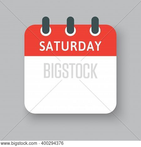 Vector Icon Calendar Page, Days Of Week Saturday