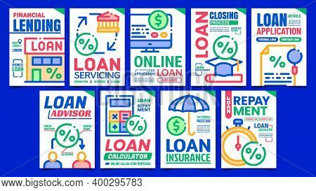Loan Finance Creative Promotion Posters Set Vector. Loan Advisor Consultant And Calculator, Online A