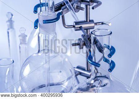 Flask On A Tripod. Laboratory Analysis Equipment. Chemical Laboratory, Glassware Test-tubes.