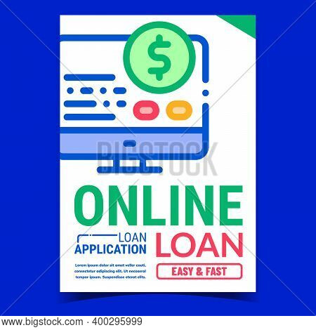 Online Loan Creative Promotional Banner Vector. Borrowing Budget Capital Loan And Credit Accounting