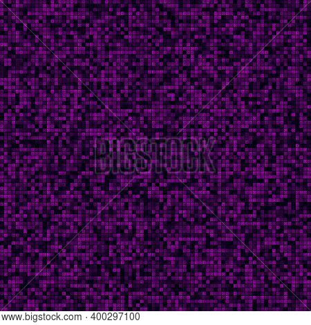 Technology Seamless Pattern. Filled Pattern Of Multiple Squares. Magenta Colored Seamless Background