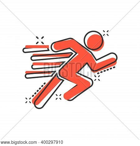 Run People Icon In Comic Style. Jump Cartoon Vector Illustration On White Isolated Background. Fitne