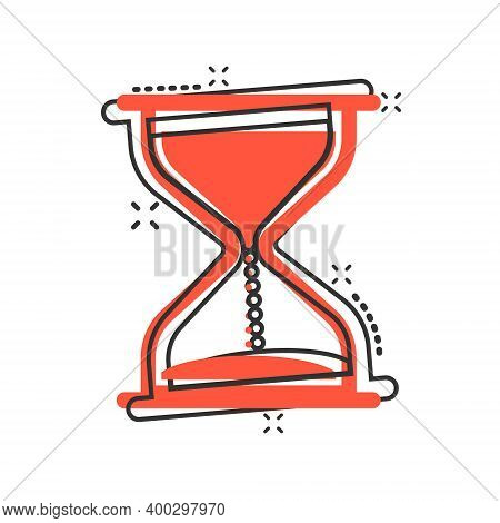 Hourglass Icon In Comic Style. Sandglass Cartoon Vector Illustration On White Isolated Background. C
