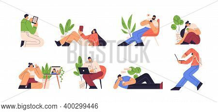 People Reading E Book And Using Gadgets Vector Flat Illustration. Set Of Men And Women Chatting, Doi