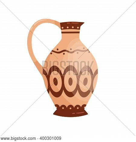 Traditional Antique Greek Jug With Handle Vector Flat Illustration. Colorful Clay Vase, Crockery Or