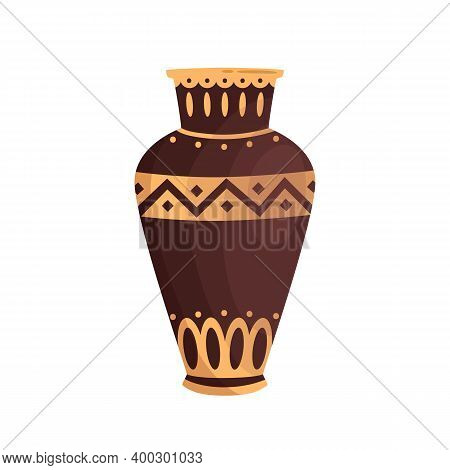 Traditional Antique Greek Vase Decorated By Hellenic Ornaments Vector Flat Illustration. Ancient Pot