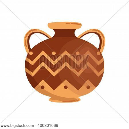 Antique Greek Stoneware Or Pottery Vector Flat Illustration. Traditional Grecian Vase Or Amphora Wit