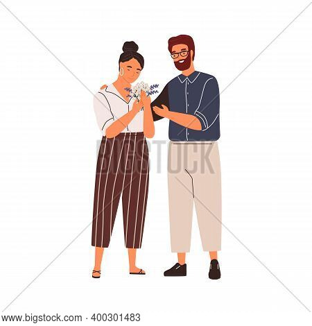 Happy Couple Hugging At Romantic Date Vector Flat Illustration. Smiling Woman With Flower Bouquet Gi