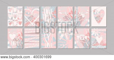 A Set Of Modern Minimalist Cards About Love On Abstract Backgrounds. Wedding Invitations, Valentine