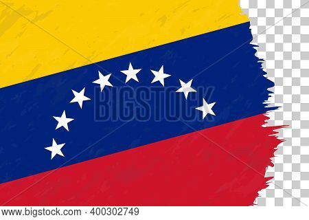 Horizontal Abstract Grunge Brushed Flag Of Venezuela On Transparent Grid. Vector Template.