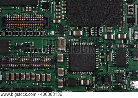 Electronic Circuit Board Close Up. Circuit Board Background.