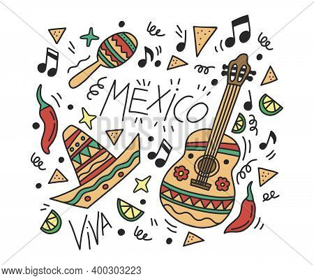 Vector Poster For Restaurant. Cute Hand Drawing With Doodle Mexico. Mariachi Music, Mexican Style Pa