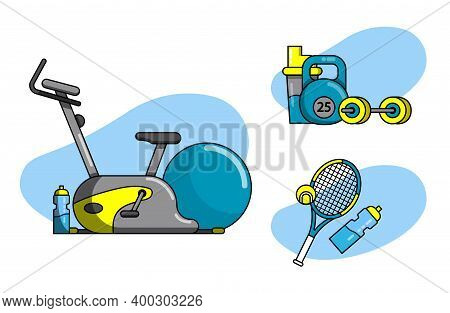 Set Of Sports Icons With Cardio, Strength Training, Tennis.  Trainer, Championship, Competition, Exe
