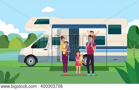 Campervan Mobile Home With Open Door And Awning Together With A Vacationing Family. Vector Flat Styl