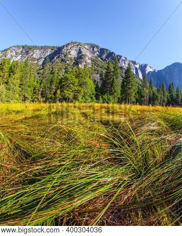 Majestic mountains surround the Yosemite Valley. Yosemite Park is located on the slopes of the Sierra Nevada. Western Cordillera. The park is declared a World Heritage Site