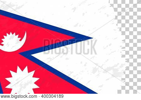Horizontal Abstract Grunge Brushed Flag Of Nepal On Transparent Grid. Vector Template.